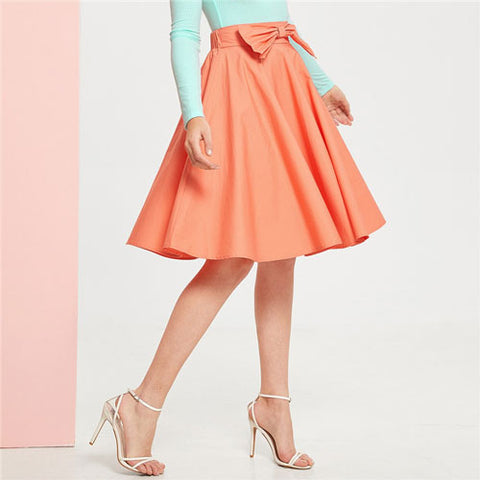 Orange Lady Classy Bow Detail Flared Midi Skirt