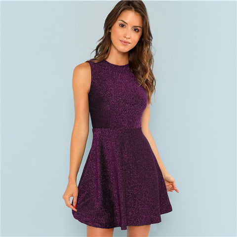 Purple Fit and Flare Sleeveless Glitter Slim