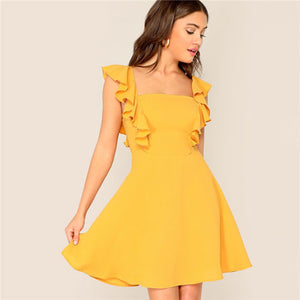 Yellow Glamorous Ruffle Trim Skater Fit and Flare
