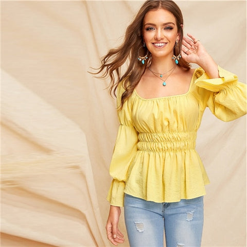 Yellow Square Neck Elasticized Sleeve Top Blouse