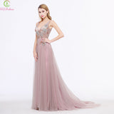 New Evening Dress Long Luxury Sequins Beading Pink