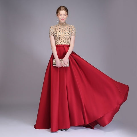 New High-end Evening Dress Luxury Satin High-neck