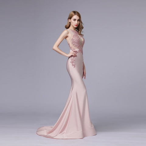 New Luxury Pink Satin Mermaid Evening Dress