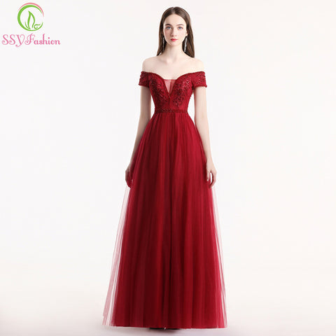 New Women's Burgundy Lace Evening Dress Elegant