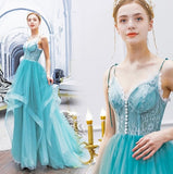 Blue Evening Dresses Long Custom Party