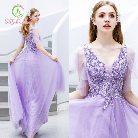 Purple Long Dresses Evening Custom Party Prom