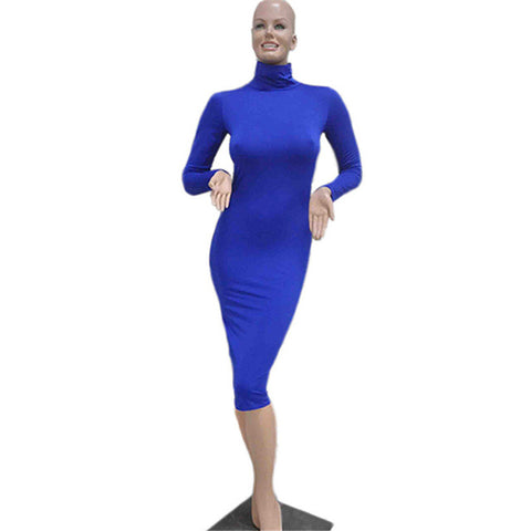 Sexy Women Bandage Dress Autumn Turtleneck Slim Long Sleeve