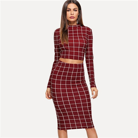 Plaid Burgundy Long Sleeve Stand Collar