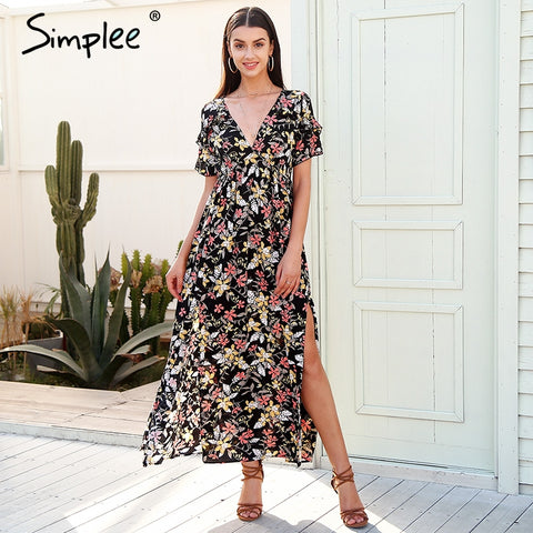 Deep v neck print long dress women Elegant