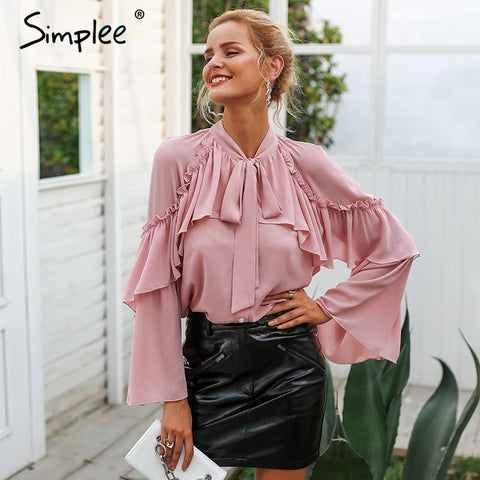 women long layered flare sleeve blouse