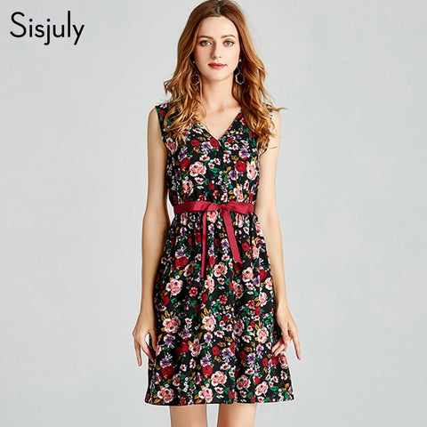 vintage women floral print v-neck dress summer 2019