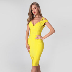 Spaghetti Strap Solid Women Bandage Dresses Hollow Out Sleeveless