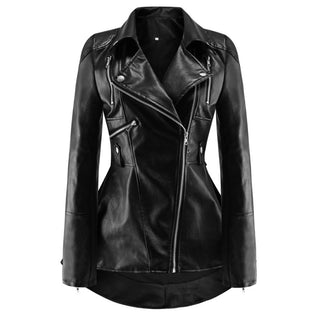 Trendy Women Leather Zipper Jacket Slim Biker Motorcycle Coat Punk Outwear 2020 Autumn Winter Women Girls Oversize