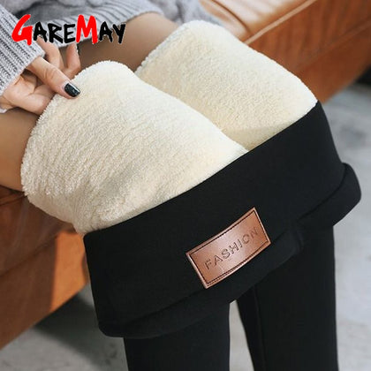 Black warm pants winter skinny thick velvet wool fleece girls