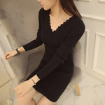 Spring Winter Women Short Sweater Dress V Neck Long Sleeve