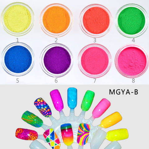 8 jars/set Neon Pigment unicorn Nail Dust
