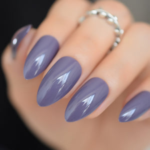 Oval Sharp Solid Purple Gray Fake Nails Soft Grey