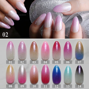 24pcs pink glitter gradient stiletto nails red medium Nude fake