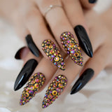 Glamour Rhinestone Extra Long Fake Nails 2019