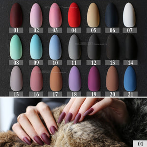 New Matte False Short Pointed Soft Pink Nude Red Black Blue