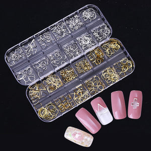 Gold Silver Hollow Nail Art 3D Decorations Metal Nail