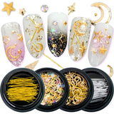 1Box Nail Art Gold Strass Star Moon Decor Mix 3D Rhinestones