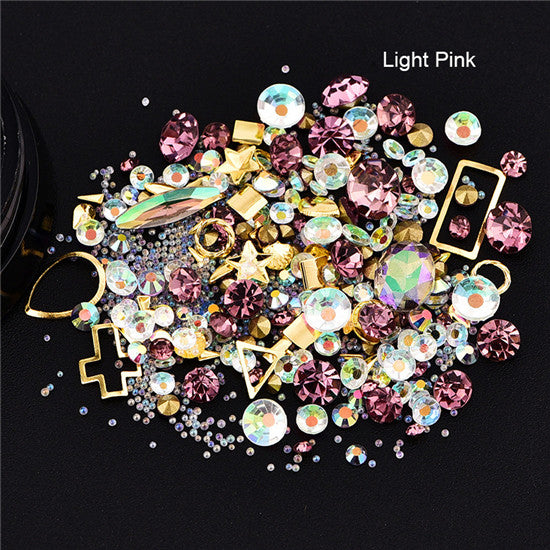 1Box 3D Rhinestones Diverse DIY Gems New Charming Mix