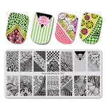 1PC NEW Stamping for nails Flower Plaid Pattern stencil for Nail stamping