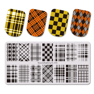 1PC Stamping for nails DIY Geometric Plaid Pattern stencil for Nail stamping