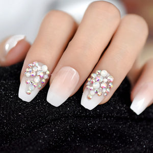 AB Rhinestones Designed Ombre French Nail Ballerina Gradient Natural Coffin Fake Nails 24pcs