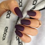 Wholesale Coffin Fake Nails Matte Wine Red Frosted