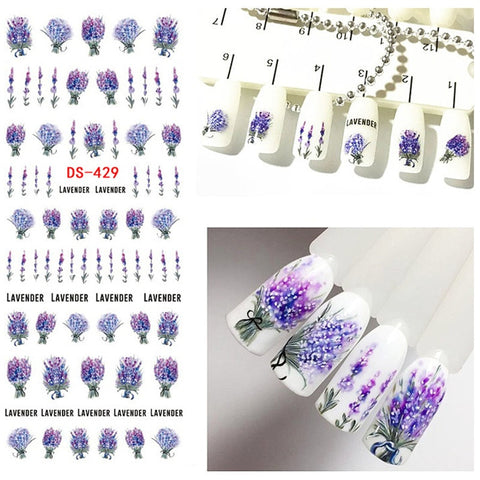 1 Pc Nail sticker Lavender Flower Water Decals Purple