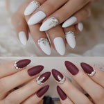 3D Frosted Burgundy Matte Stiletto False Nails