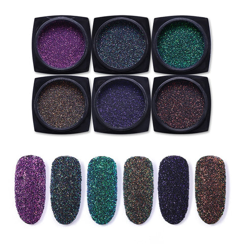6 Boxes Holographic Nail Powder Glitter Laser Colorful