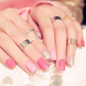 Girls Sweet Pink Color Fake Nail Ladies Shimmer Glitter Nail Art