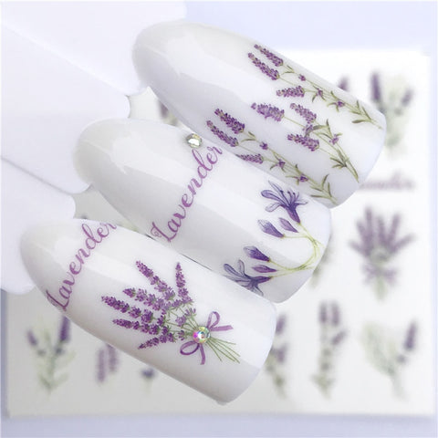 Nail sticker art decoration grass lavender nails