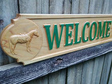 Load image into Gallery viewer, Red Cedar All Weather Outdoor wooden Quarter board, 3D wood carved Horse Driveway Entrance Sign