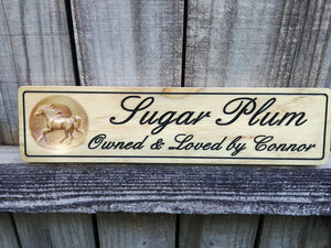 Personalized Solid Pine Wooden Horse Name Plate