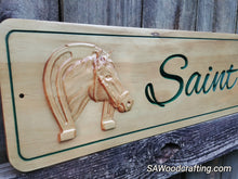 Load image into Gallery viewer, 3D Custom Wood Carved Horse Sign, Personalized Horse Name Stall sign, Custom Horse tack