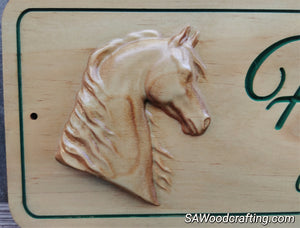 3D Custom Wood Carved Horse Sign, Personalized Horse Name Stall sign, Custom Horse tack