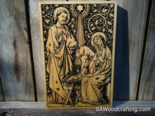 Load image into Gallery viewer, Solid Wood Plaque with Nativity Scene