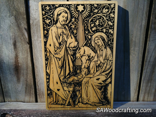 Solid Wood Plaque with Nativity Scene