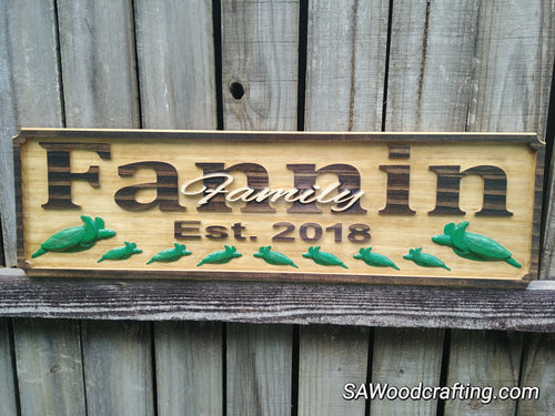 Personalized Family Name sign with Sea Turtles 50th Anniversary gift