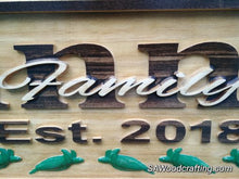 Load image into Gallery viewer, Personalized Wooden Family Last Name sign with Sea Turtles, 50th Anniversary gift