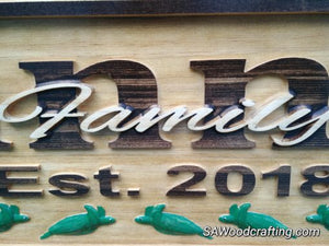 Personalized Wooden Family Last Name sign with Sea Turtles, 50th Anniversary gift