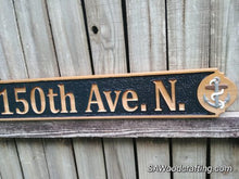 Load image into Gallery viewer, Cedar Wood Nautical Home Address sign, All Weather Business Address sign