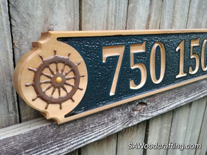 Cedar Wood Nautical Home Address sign, All Weather Business Address sign