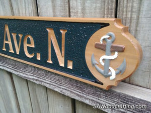 Nautical Quarter board with hand painted 3D raised graphics. Custom outdoor business name sign or all weather address quarterboard.