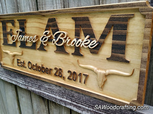3D Carved Wooden Longhorn Rancher Family Name Sign