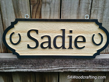 Load image into Gallery viewer, Personalized 3D carved Solid Pine Wood Horse Stall Sign with Horseshoes